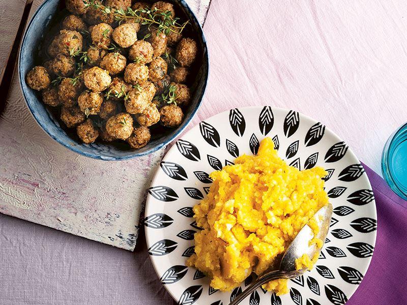 Ekşili köfte ve patatesli bal kabağı püresi
