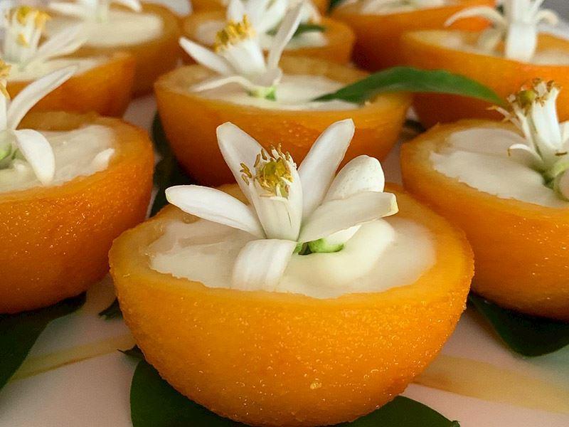 Kremalı portakal çiçeği çanakları