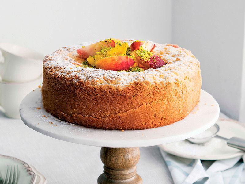 Şeftalili crumble cheesecake