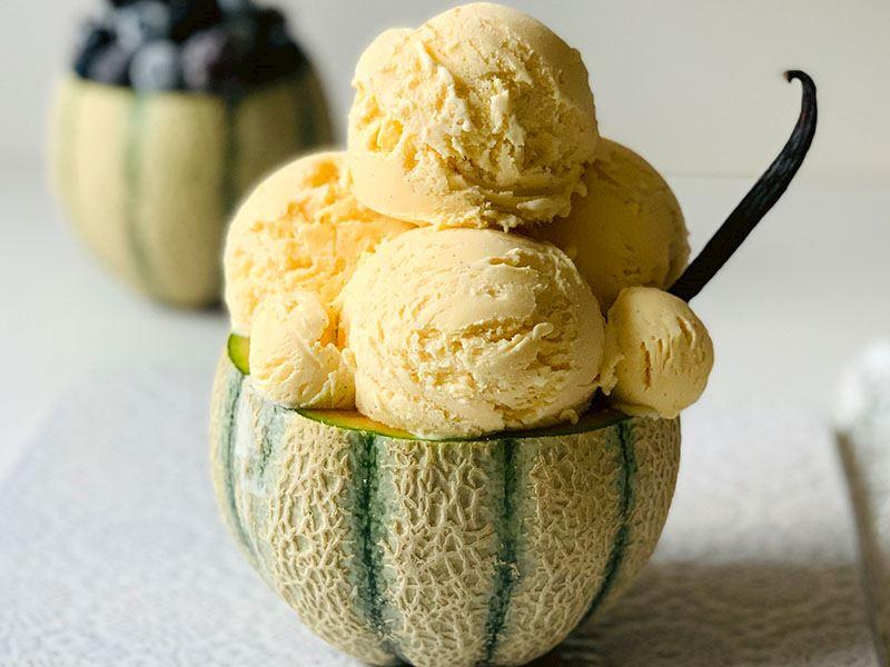 Vanilyalı keçi sütlü dondurma