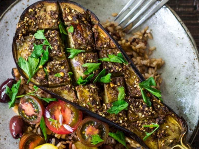 Zahterli fırında patlıcan