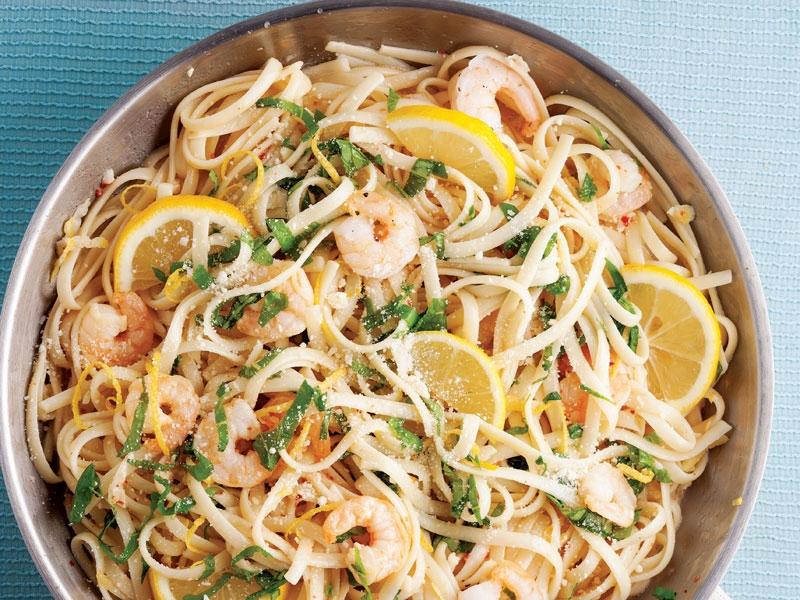Limon soslu karidesli spagetti